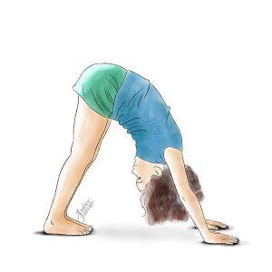 yoga enfant zen chien tête en bas