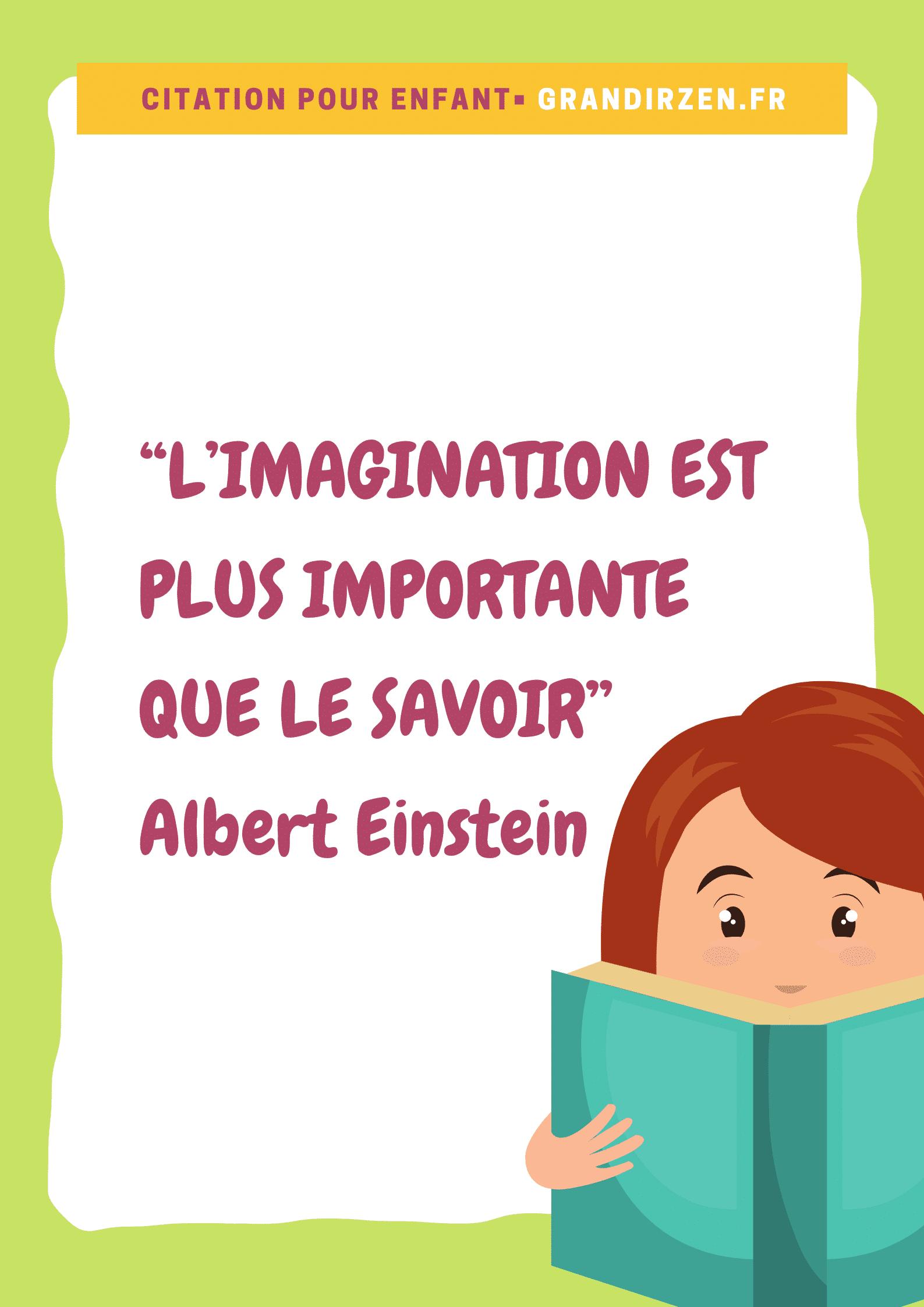 """Tableau de visualisation positive pour enfant, citation """"L'imagination est plus importante que le savoir"""", Albert Einstein"""