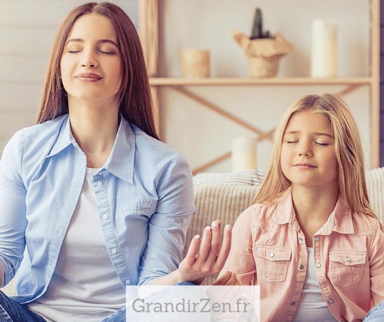 tableau de visualisation positive pour enfant, méditer en famille
