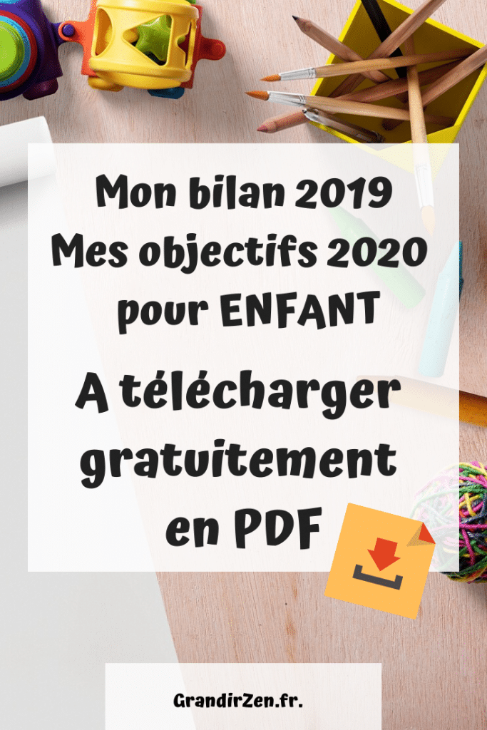 Bilan 2019 et objectifs 2020, livret de 9 pages de développement personnel pour enfant, outil gratuit à télécharger en PDF