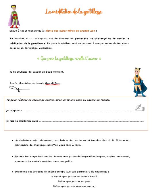 Méditation de la gentillesse, 2 pages au format PDF pour les enfants