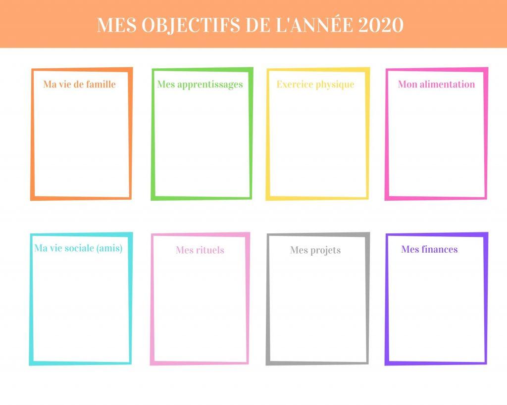 Bilan 2019 enfant extrait du livret PDF : mes objectifs 2020 ! Tableau à remplir pour enfant