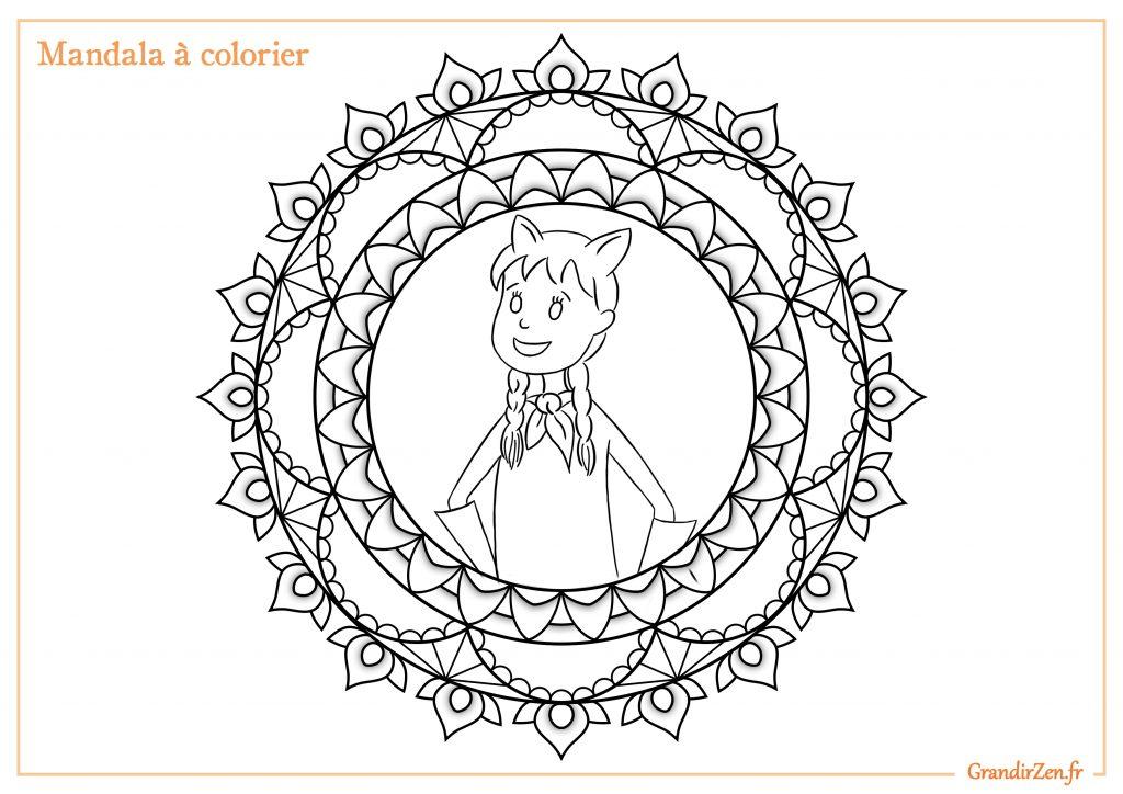 Mandala à colorier du programme pour enfant 2à défis pour être un enfant zen et épanoui. Défis audio, dès 4 ans