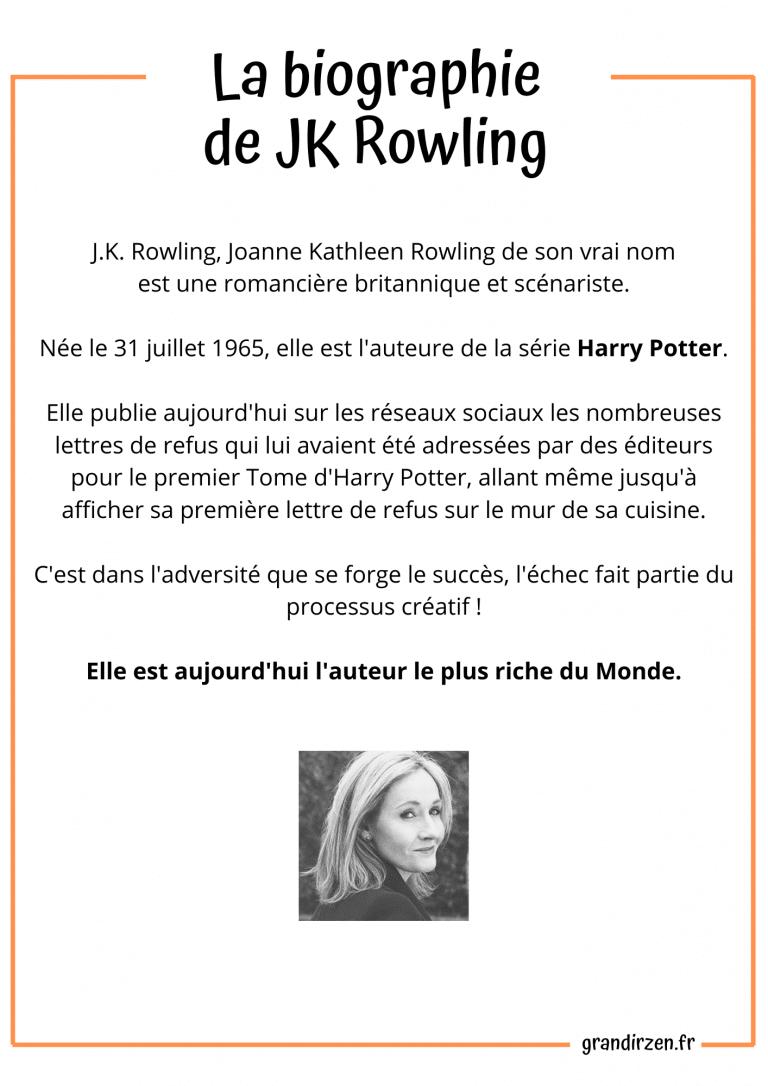Biographie de JK Rowling,. Affiche à télécharger pour cultiver le Growth Mindset de son enfant