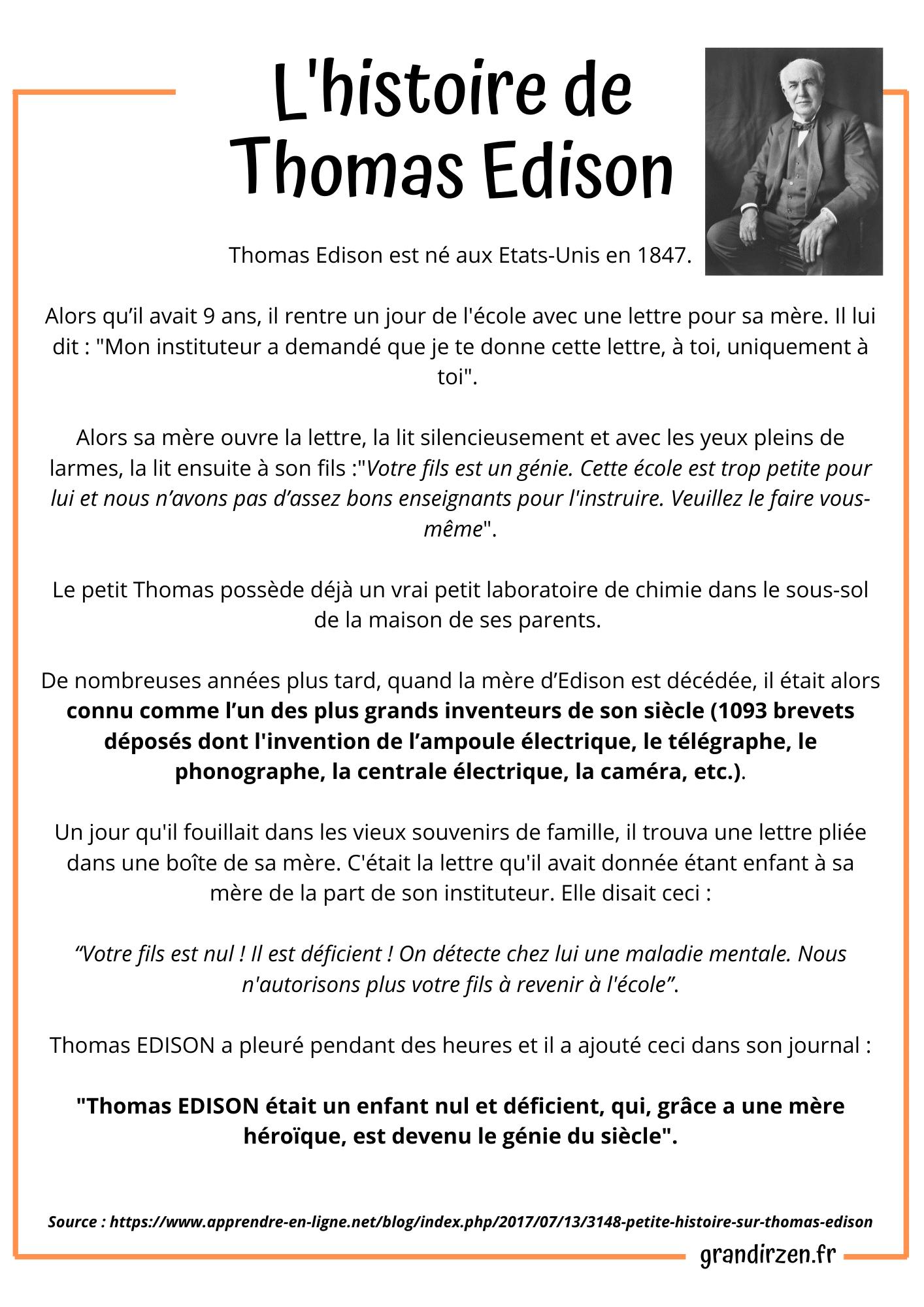 Biographie de Thomas Edison, échecs,. Affiche à télécharger pour cultiver le Growth Mindset de son enfant