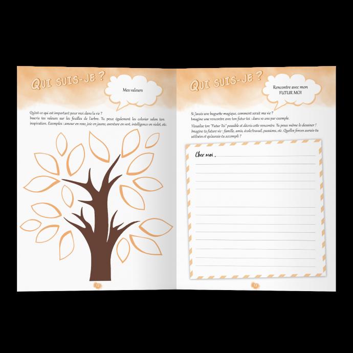 Confiance en soi cahier d'activités Grandir Zen pour enfant 6 à 11 ans. Double page Mes valeurs, mon futur moi