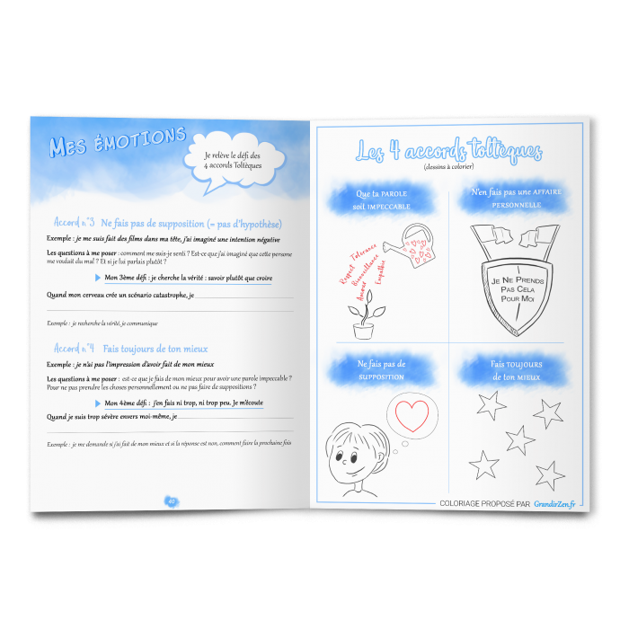 Confiance en soi cahier d'activités Grandir Zen pour enfant 6 à 11 ans. Double page émotion les 4 accords toltèques