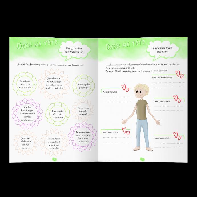 Confiance en soi cahier d'activités Grandir Zen pour enfant 6 à 11 ans. Double page affirmations positives et gratitude