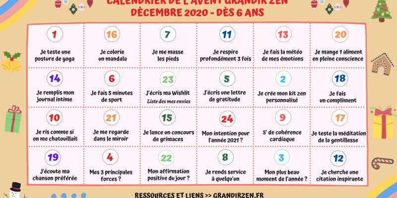 Calendrier de l'avent pour enfant 2020, bien-être et défis de développement personnel, dès 6 ans