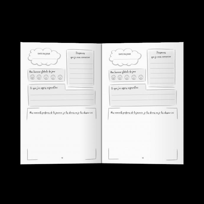 Journal de gratitude pour enfants de 180 pages à compléter chaque jour. Tous les soirs avant de se coucher par exemple, votre enfant complète la page de son cahier personnel et se crée une routine positive en maximum 5 minutes.