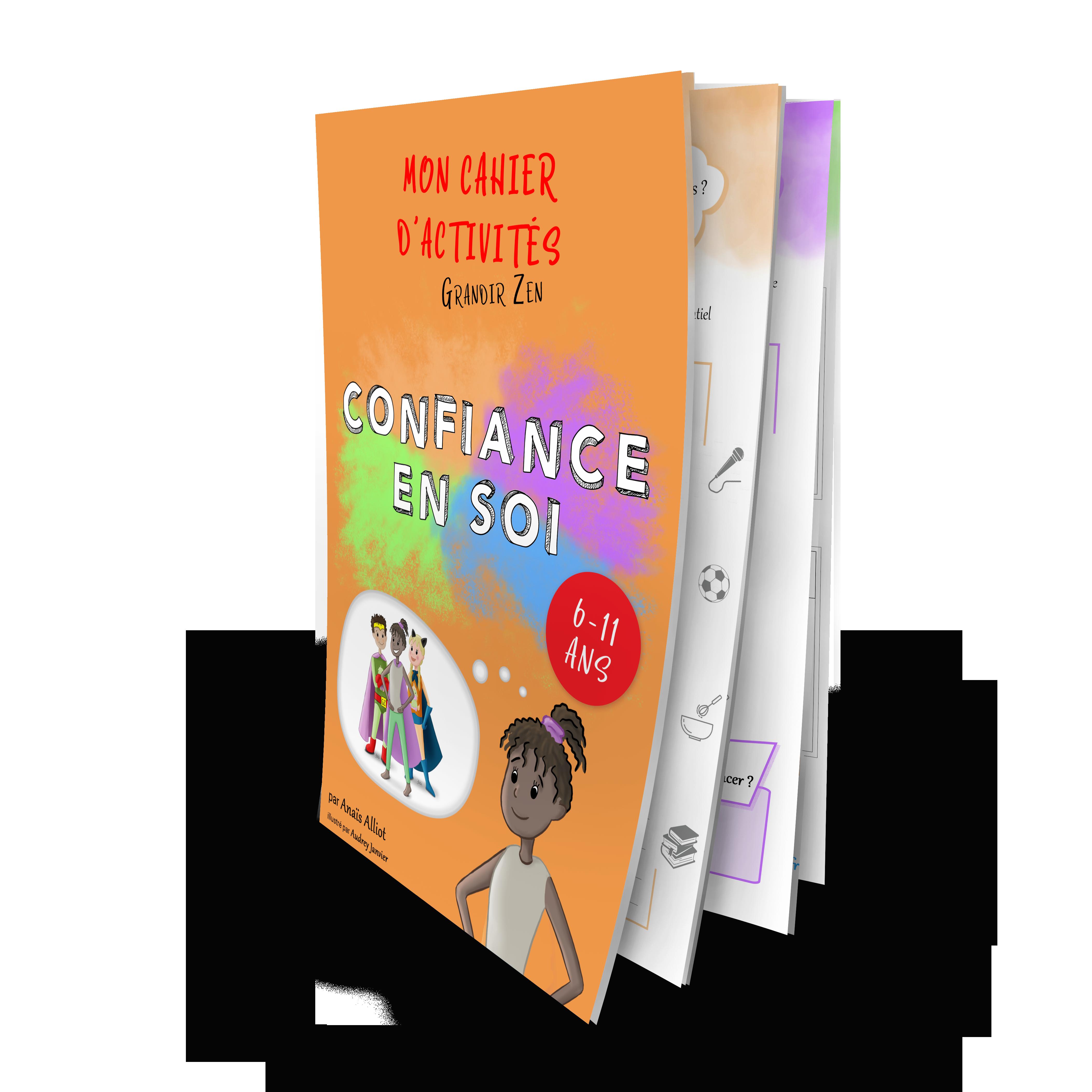 Mocap couverture cahier Grandir Zen confiance en soi pour enfants dès 6 ans, développement personnel enfants