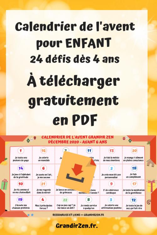 Calendrier de l'avent pour enfant 2020, bien-être et défis de développement personnel, dès 4 ans - image Pinterest